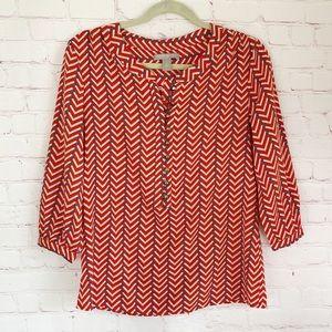[Banana Republic] red chevron stripe blouse small